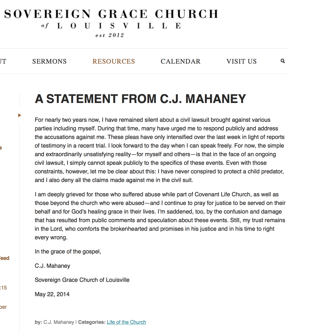 2014-11-09 Mahaney statement of innocence