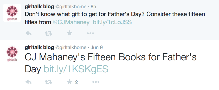2015-06-11 Girltalk tweets on CJ's book suggestions