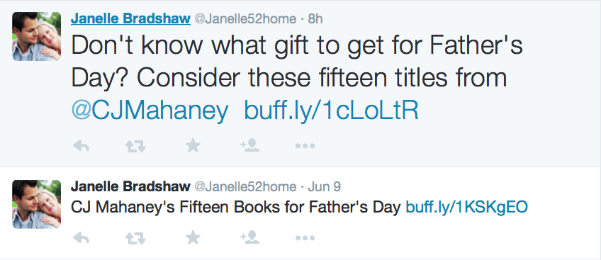 2015-06-11 Janelle Bradshaw tweets on CJ books