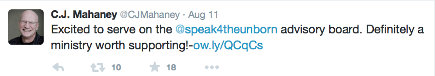 2015-08-12 Mahaney tweets about advisory board speak 4 the unborn