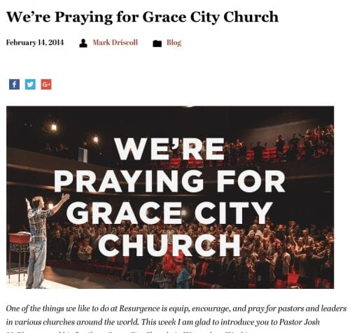 2016-02-15 Driscoll prays for Grace City church