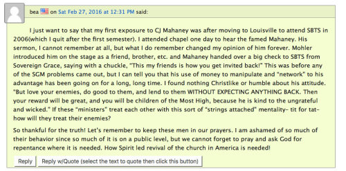 "Comment on ""The Wartburg Watch"" recounting how C.J. Mahaney seemingly ""bought"" Mohler's silence."
