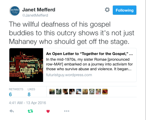 2016-04-13 Janet Mefferd tweet