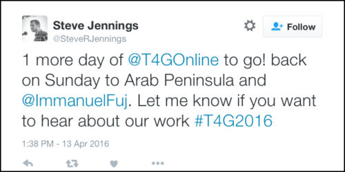 2016-05-08 Jennings tweet from T4G hear about our work