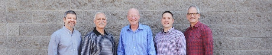 The 5 pastors of the SGM Louisville church plant. Mahaney is flanked by his brother-in-law and son-in-law.